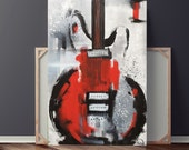 Guitar Painting, Abstract Painting, Red White & Black Painting, Large Original Painting on Canvas, 36x24 Heather Day Paintings