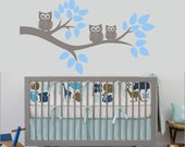 Nursery Wall Decals - Branch wall decal with owls. Tree wall decal for nursery. Tree Branch Decals