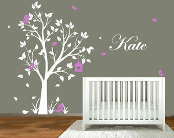 Tree Wall Decal With Name Decal. Elegant garden tree nursery wall decal. Tree wall decal with name for boys and girls rooms.