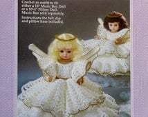 """20%OFF Fibre Fiber Craft CHRISTMAS ANGEL 13"""" Music Box Doll or 10 1/2"""" Pillow Doll - Crochet Doll Dress Clothes Clothing Pattern"""