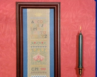 20%OFF Serendipity Designs Counted Cross Stitch Pattern ANTIQUE SAMPLER Band By Carolyn Meacham - Includes Linen Fabric As Pictured