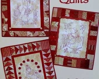 SALE REDWORK QUILTS Book 1 By Tricia Cribbs - Redwork Stitchery Embroidery Quilting Pattern Booklet