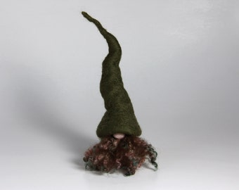 Needle Felted Gnome Green Wool Forest Home Decor