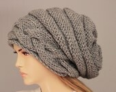 Big Sale -Beanie hat winter slouchy oversized  knit hat for woman in grey -  COLOR OPTION AVIABLE