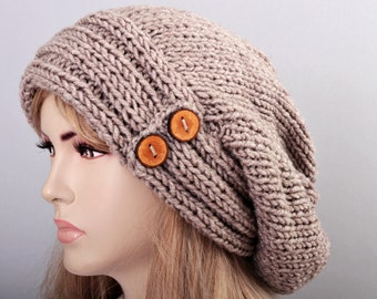 Big Sale -Beanie hat winter slouchy oversized with wooden button  knit hat for woman in cherry -COLOR OPTION  AVAILABLE