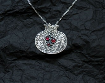 Pomegranate Necklace Silver - Pomegranate Garnet Pendant