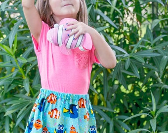 Disney inspired  Finding Dory  Skirt (18 mos, 24 mos,  2T, 3T, 4T, 5 ,6, 7, 8, 10)