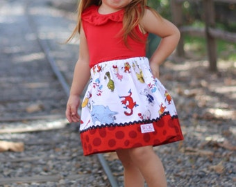 Skirt made with authorized Robert Kaufman fabric  Suess Characters (18 mos, 24 mos,  2T, 3T, 4T, 5, 6, 7, 8, 10)