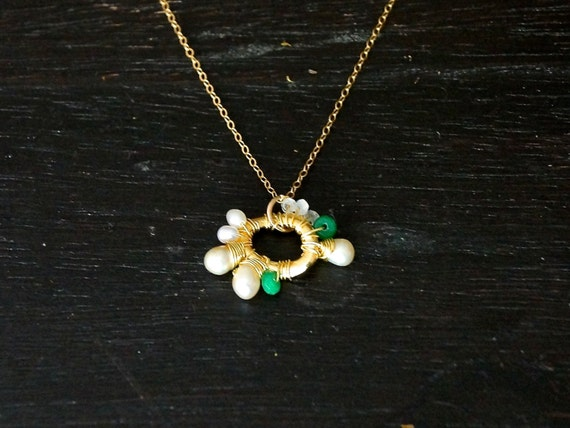 Emerald green pendant necklace - freshwater pearl, green onyx, & moonstone