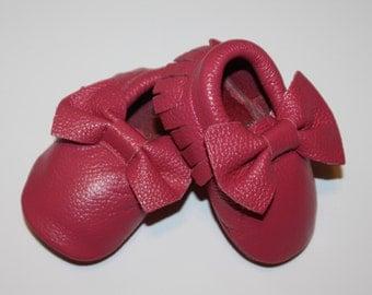 ROSE Moccasin 100% genuine leather baby moccasins  Mocs moccs tassel Be my Valentine