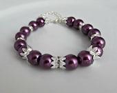 Pearl Bracelet, Purple Pearl Bracelet, Amethyst Pearl Bracelet, Bridesmaid Bracelet, Bridesmaid Gifts, UK Seller, Girl Gift, Bridal Bracelet