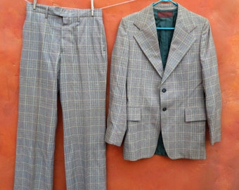 Vintage Men's 1960s 1970s Yves Saint Laurent plaid Suit. Single breasted. sportcoat sport coat pants trousers. Tan Green Orange Blue 40R 40L