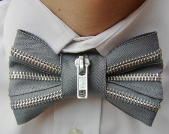 Grey Bow Tie with Silver Zipper
