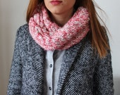 Pink Scarf / Mitten / Red - pink - White - Colorful / Handmade  scarf / Valentines day / Mother's Day Gift