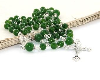 Catholic Rosary Prayer Beads, Green Nephrite Jade & Silver (Greenstone)