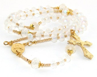 Confirmation Rosary, Frosty White Crystal, Fiat of Mary Center