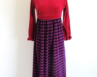 Valentine 1/2 Off Sale 60s Empire Waist Maxi, Long Sleeve Velour Dress
