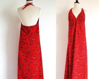 Valentine 1/2 Off Sale Red Halter Dress, 70s Maxi Dress, Beach Dress