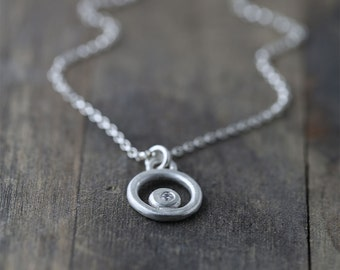 Silver Necklace - Sterling Silver Jewelry - Hand Forged Pendant Flush Set with Cz Cubic Zirconia