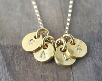 Custom Gold Initial Mommy Necklace - Hand Stamped Mom Jewelry - Personalized Gift - Monogram Necklace