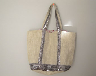 Linen bag with silver grey sequins, tote bag in linen with sequins