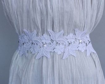 Bridal Sash Belt, Ecru Cream, White Lace Satin Ribbon Wedding Dress Belt, Romantic Wedding