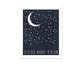 Good Night Moon Star Typography Poster - Dark Navy Blue Digital Art Print - Celestial Boys Wall Art Nursery