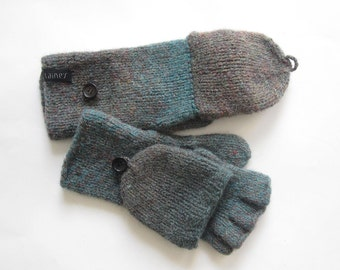 convertible mittens, wool mittens, size L