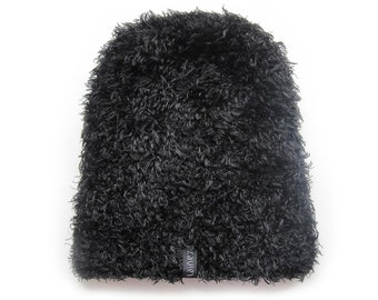handmade knitted fluffy hat for women and teen