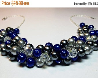 30% Off SALE thru Mon Cobalt Blue Gray Pearl and Crystal Cluster Necklace, Christmas Mom Sister Bridesmaid Wedding Birthday Girlfriend Wife