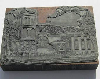 Vintage Letterpress Print Block: Large Print Block of Historic Building, Ohio or West Virginia Printer Block