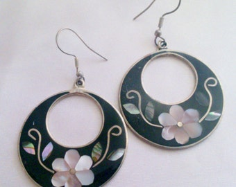 Vintage Alpaca Mexico Silver Inlaid Mother of Pearl Drop Earrings