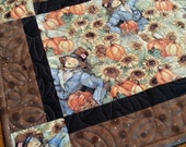 Scarecrow Harvest Quilted Table Runner, Fall Autumn Quilted Table Topper, Pumpkins Table Runner