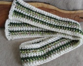 Christmas Holiday Scarfs Stripped Crochet red, green, white or greens+ white mix (or custom colors)