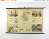 Vintage Pull Down School Chart, Britain and Ireland