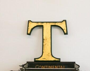 Vintage Shop letter T, 24 carat gold leaf, antique signage