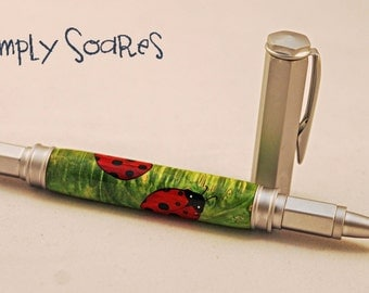Handturned Wood Inlay Pen - Lady Bugs