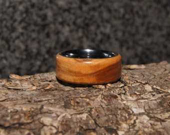 Size 7 1/2  - Olive wood and tungsten ring