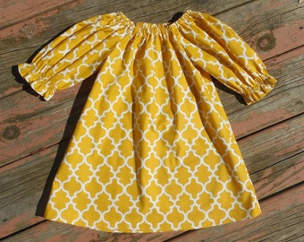 Fall 2015 Girl's Infants Toddlers Mustard Quatrefoil Peasant Dress