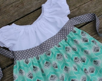 Spring 2016 Girl's Toddlers Mint and Gray Ruffle Peasant Dress