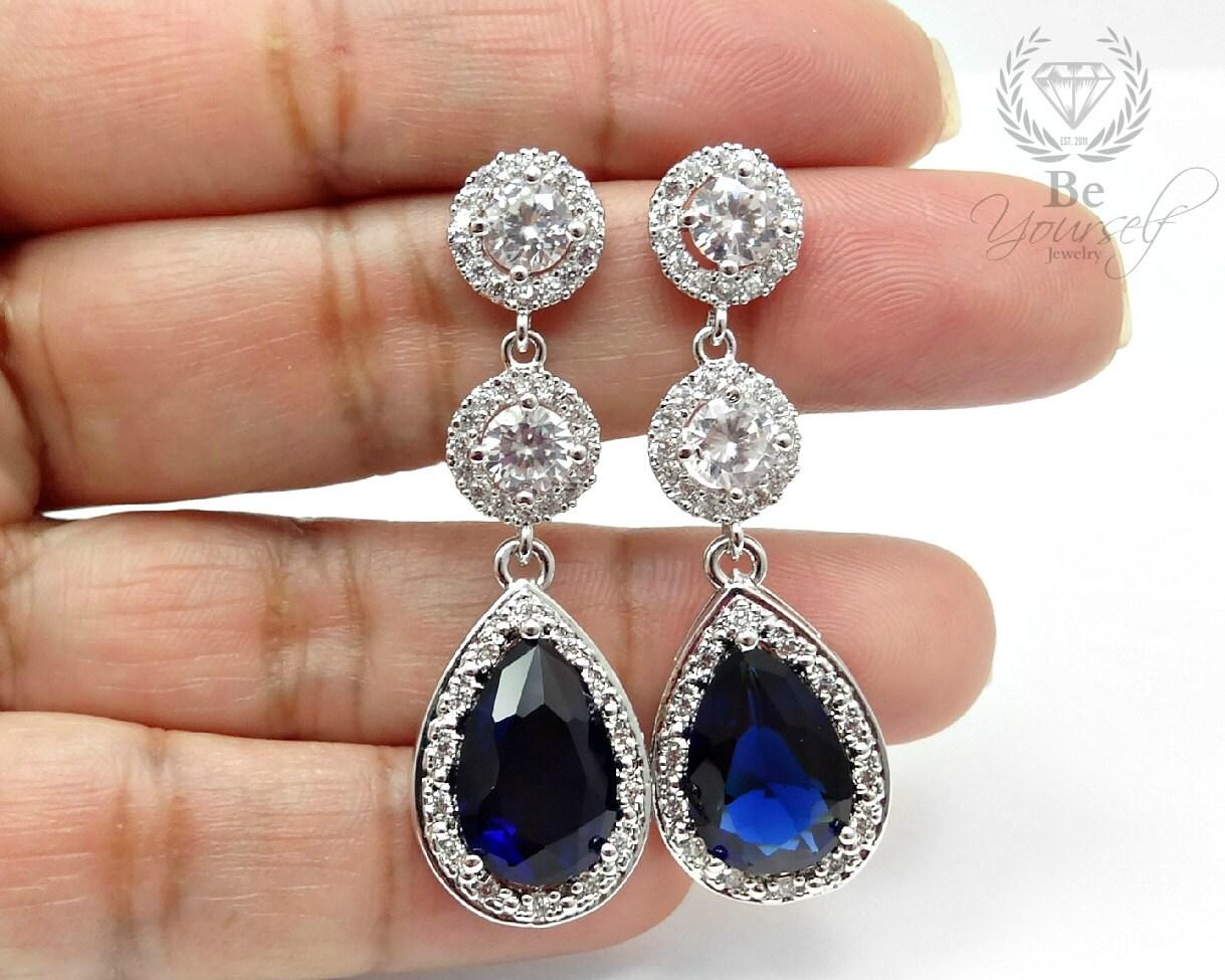 Sapphire Bridal Earrings Navy Blue Teardrop Bride Earrings White Crystal Wedding Jewelry Cubic Zirconia Bridesmaid Earrings Something Blue