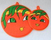 1970s Oranges Potholder Hot Pad Hanging Faces Vintage Kitchen Kitsch Florida