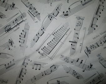 Music Lines Notes Black White Cotton Fabric Fat Quarter or Custom Listing