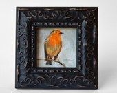 Robin Bird Oil Painting, Rustic Nature art, Country decor
