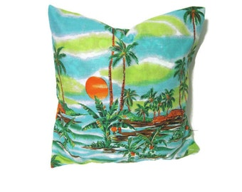 Green Turquoise Tropical Print Pillow Cover