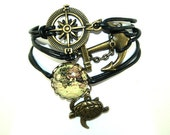 Vintage World Map Leather bracelet bronzecolored - Maritime anchor compass globetrotter jetsetter travel seafaring farewell gift