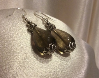 Lady Moonlight, Smoky Quartz Gemstones & Silver,  Drop Dangle Earrings, by Elstwhen