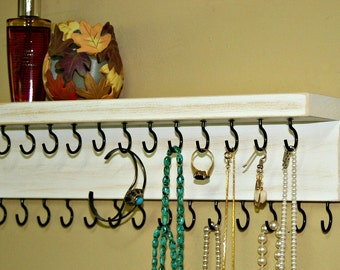 Jewelry Holder - Necklace Shelf - Organizer  Necklace Storage  27 Hooks