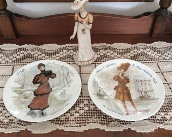 Vintage Set of 2 French Plates by Fr. Ganeav made in Limoges France