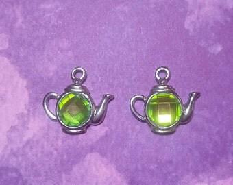 New 2 Cute Metal Crystal Green Tea Kettle Charm Pendant